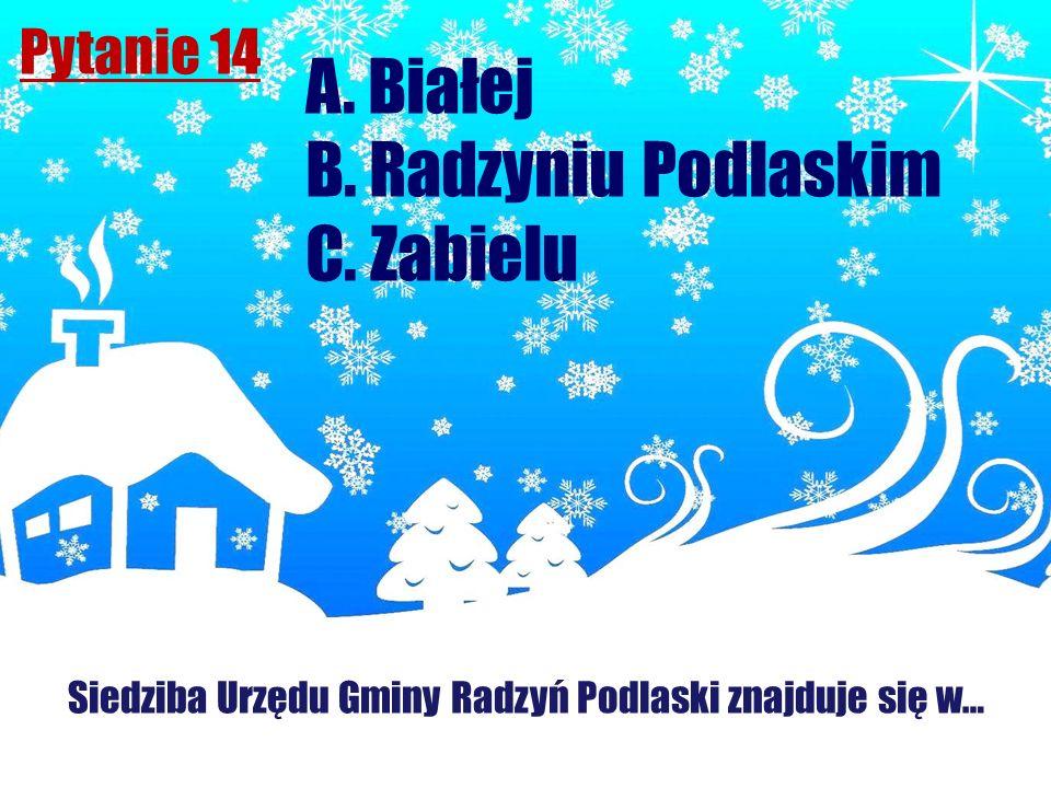 Pytanie 14 Siedziba Urzędu Gminy Radzyń Podlaski znajduje się w… A. Białej B. Radzyniu Podlaskim C. Zabielu