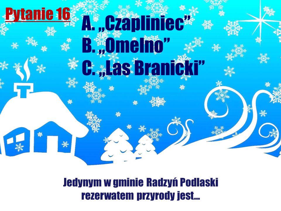 Pytanie 16 Jedynym w gminie Radzyń Podlaski rezerwatem przyrody jest… A. Czapliniec B. Omelno C. Las Branicki