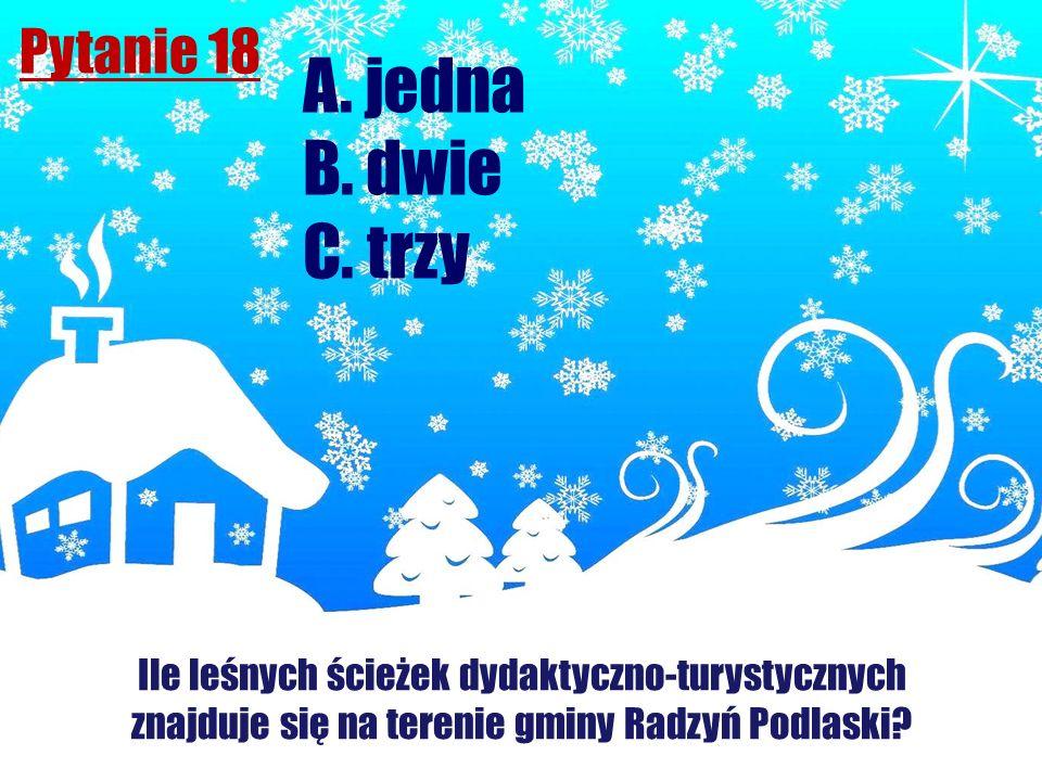 Pytanie 18 Ile leśnych ścieżek dydaktyczno-turystycznych znajduje się na terenie gminy Radzyń Podlaski? A. jedna B. dwie C. trzy