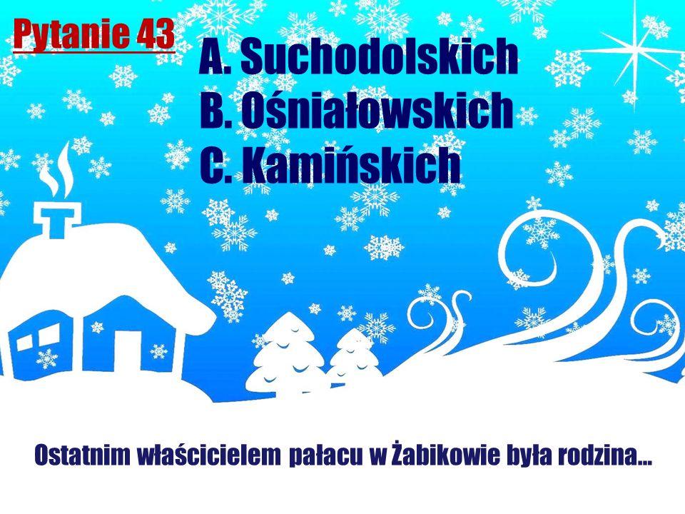 Pytanie 43 Ostatnim właścicielem pałacu w Żabikowie była rodzina… A. Suchodolskich B. Ośniałowskich C. Kamińskich