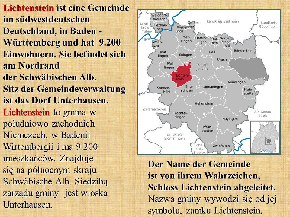 Lichtenstein ist eine Gemeinde im südwestdeutschen Deutschland, in Baden - Württemberg und hat 9.200 Einwohnern. Sie befindet sich am Nordrand der Sch