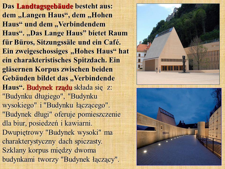 Das Landtagsgebäude besteht aus: dem Langen Haus, dem Hohen Haus und dem Verbindendem Haus. Das Lange Haus bietet Raum für Büros, Sitzungssäle und ein