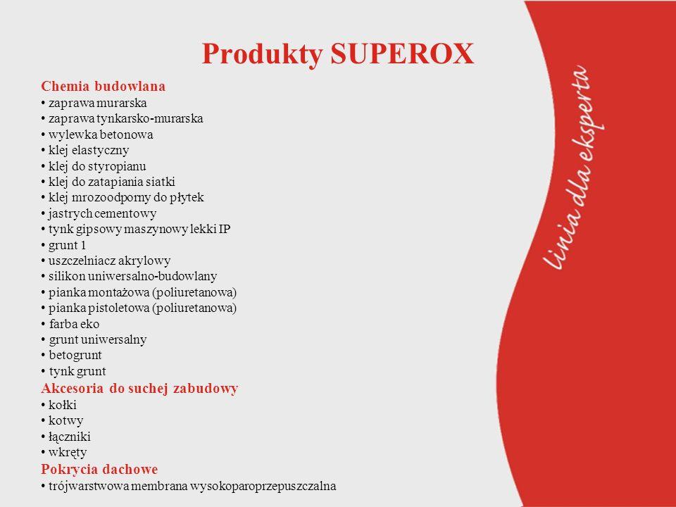Produkty SUPEROX Chemia budowlana zaprawa murarska zaprawa tynkarsko-murarska wylewka betonowa klej elastyczny klej do styropianu klej do zatapiania s