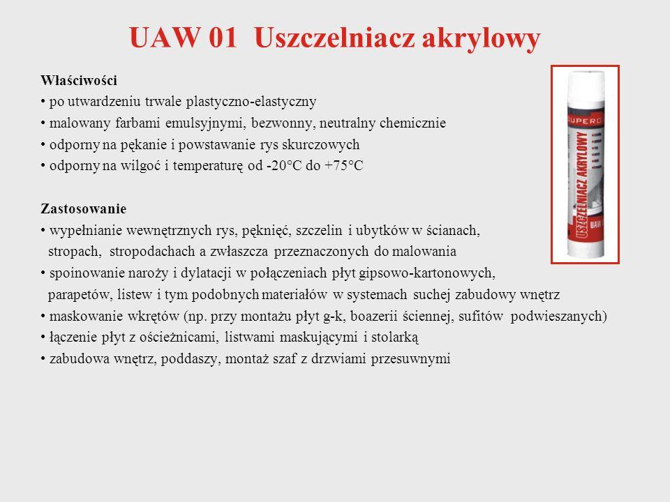 UAW 01 Uszczelniacz akrylowy Właściwości po utwardzeniu trwale plastyczno-elastyczny malowany farbami emulsyjnymi, bezwonny, neutralny chemicznie odpo