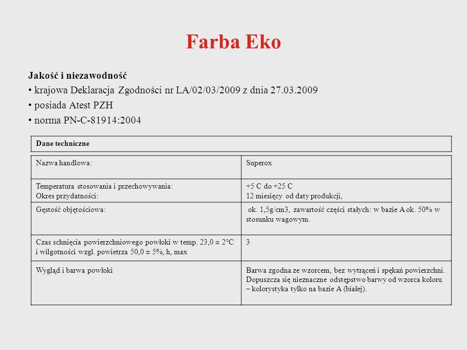 Jakość i niezawodność krajowa Deklaracja Zgodności nr LA/02/03/2009 z dnia 27.03.2009 posiada Atest PZH norma PN-C-81914:2004 Dane techniczne Nazwa ha