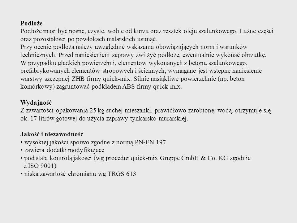 Jakość i niezawodność ATEST: PZH Okres trwałości 24 miesiące.