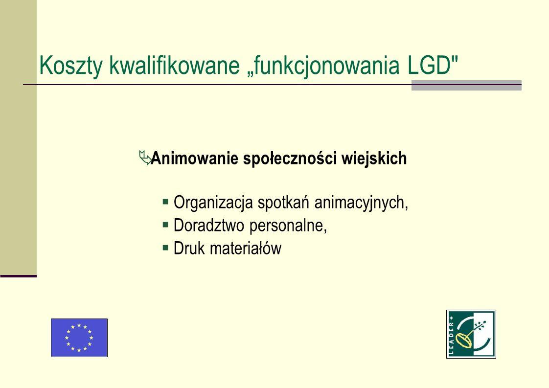 Animowanie społeczności wiejskich Organizacja spotkań animacyjnych, Doradztwo personalne, Druk materiałów Koszty kwalifikowane funkcjonowania LGD