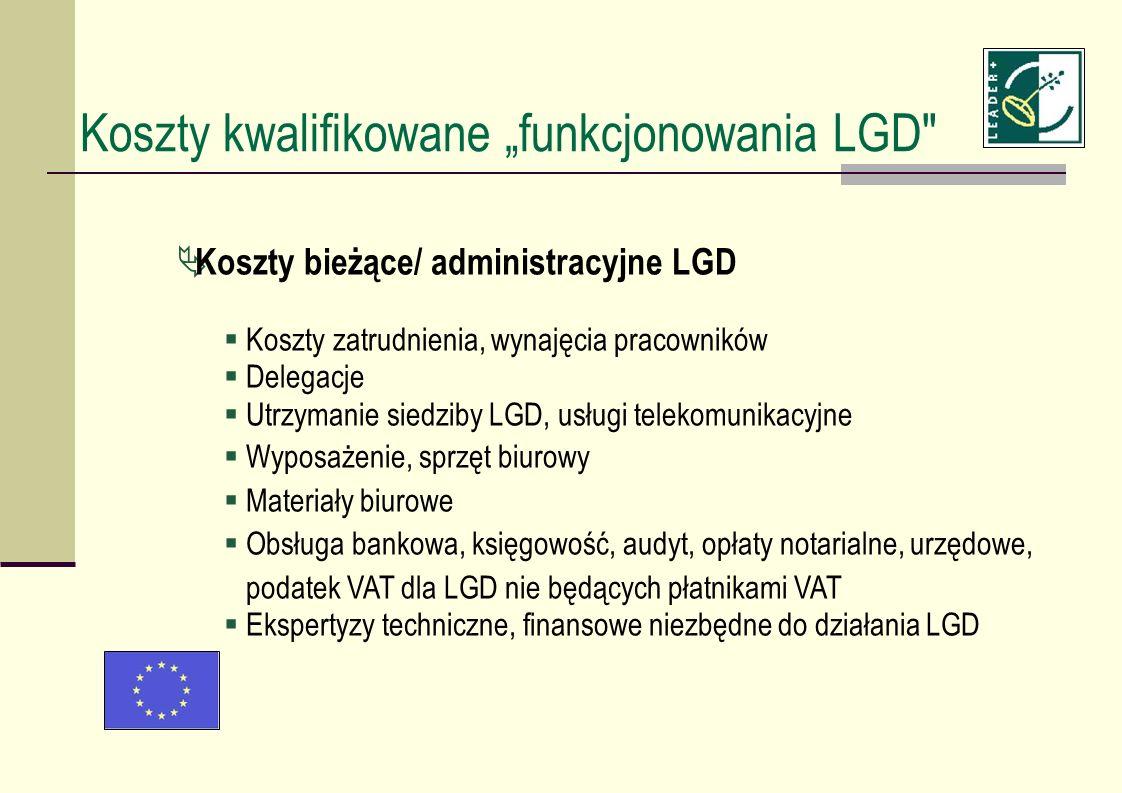 Koszty bieżące/ administracyjne LGD Koszty zatrudnienia, wynajęcia pracowników Delegacje Utrzymanie siedziby LGD, usługi telekomunikacyjne Wyposażenie