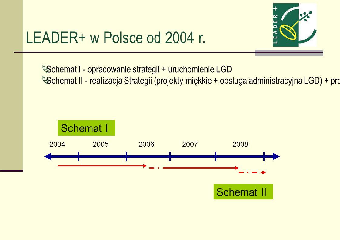 LEADER+ w Polsce od 2004 r. Schemat I - opracowanie strategii + uruchomienie LGD Schemat II - realizacja Strategii (projekty miękkie + obsługa adminis