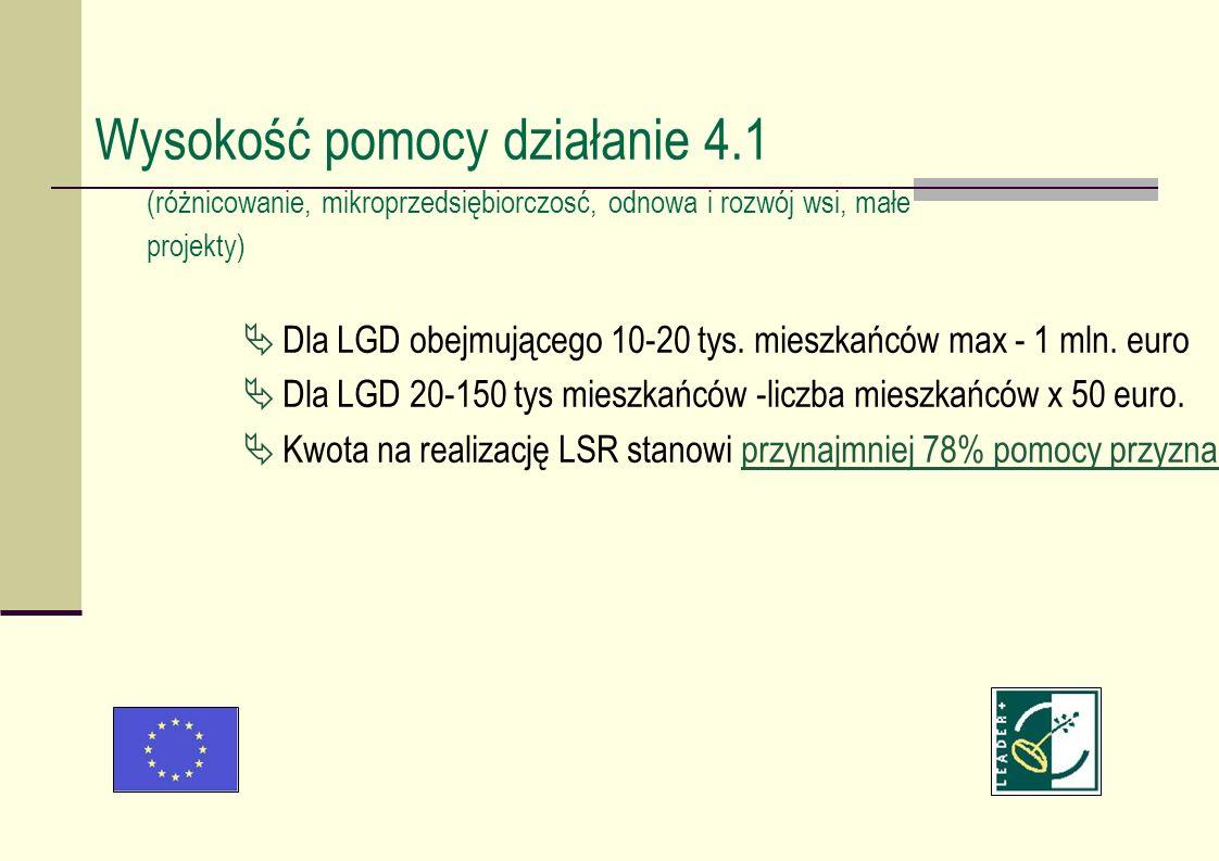 Dla LGD obejmującego 10-20 tys. mieszkańców max - 1 mln. euro Dla LGD 20-150 tys mieszkańców -liczba mieszkańców x 50 euro. Kwota na realizację LSR st