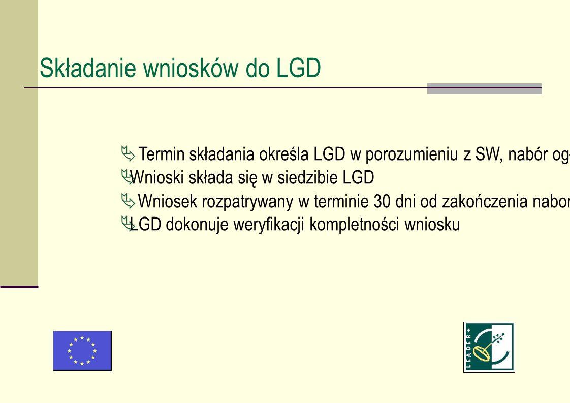 Składanie wniosków do LGD Termin składania określa LGD w porozumieniu z SW, nabór ogłaszany jest na stronie internetowej LGD oraz w prasie lokalnej i