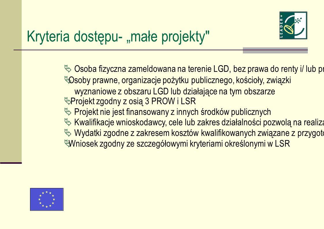 Kryteria dostępu- małe projekty Osoba fizyczna zameldowana na terenie LGD, bez prawa do renty i/ lub prowadząca działalność gospodarczą i/ lub posiadająca siedzibę na obszarze LGD Osoby prawne, organizacje pożytku publicznego, kościoły, związki wyznaniowe z obszaru LGD lub działające na tym obszarze Projekt zgodny z osią 3 PROW i LSR Projekt nie jest finansowany z innych środków publicznych Kwalifikacje wnioskodawcy, cele lub zakres działalności pozwolą na realizację działań projektu.