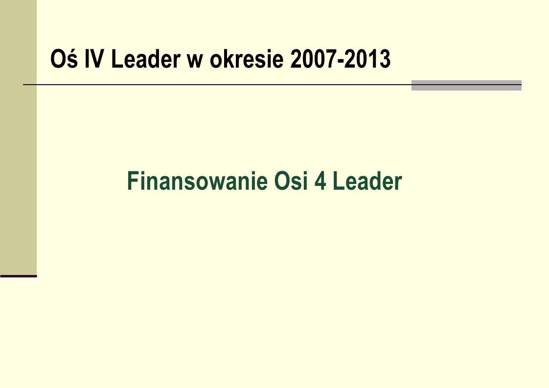 Finansowanie Osi 4 Leader Oś IV Leader w okresie 2007-2013
