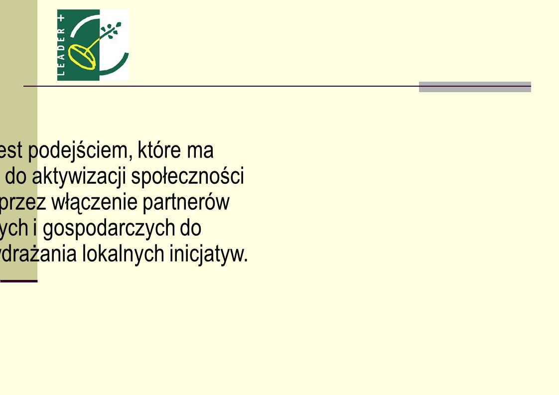 Główny cel podejścia LEADER Budowanie kapitału społecznego na obszarach wiejskich poprzez: aktywizację mieszkańców przyczynianie się do powstawania nowych miejsc pracy polepszanie zarządzania lokalnymi zasobami projekty współpracy między społecznościami