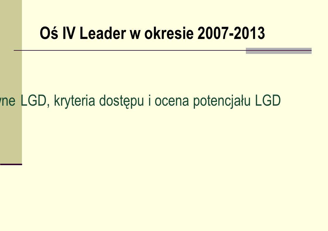 Wymogi formalno-prawne LGD, kryteria dostępu i ocena potencjału LGD Oś IV Leader w okresie 2007-2013