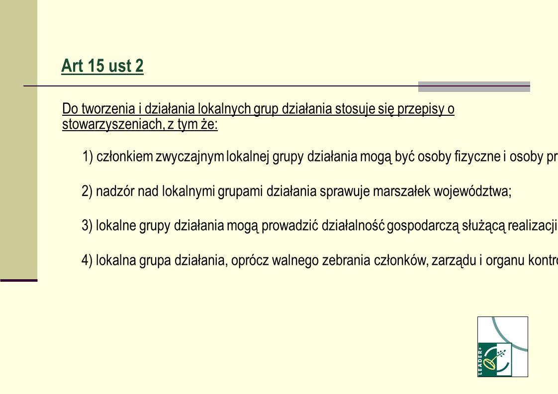 Art 15 ust 2 Do tworzenia i działania lokalnych grup działania stosuje się przepisy o stowarzyszeniach, z tym że: 1) członkiem zwyczajnym lokalnej gru