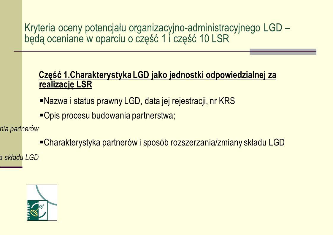 Część 1.Charakterystyka LGD jako jednostki odpowiedzialnej za realizację LSR Nazwa i status prawny LGD, data jej rejestracji, nr KRS Opis procesu budo