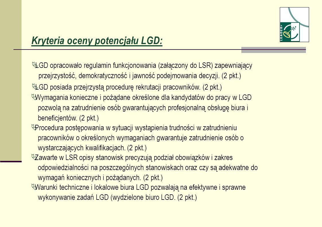 Kryteria oceny potencjału LGD: LGD opracowało regulamin funkcjonowania (załączony do LSR) zapewniający przejrzystość, demokratyczność i jawność podejm