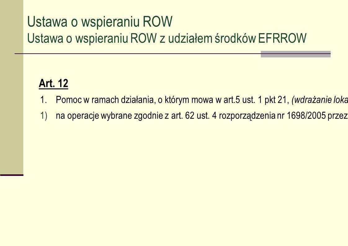 Art. 12 1.Pomoc w ramach działania, o którym mowa w art.5 ust. 1 pkt 21, (wdrażanie lokalnych strategii rozwoju) jest przyznawana: 1)na operacje wybra