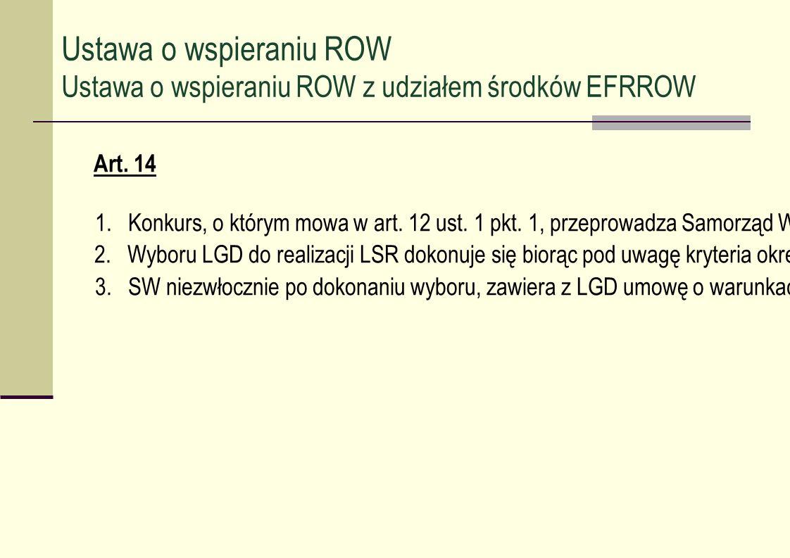 Art. 14 1. Konkurs, o którym mowa w art. 12 ust. 1 pkt. 1, przeprowadza Samorząd Województwa (SW). 2. Wyboru LGD do realizacji LSR dokonuje się biorąc