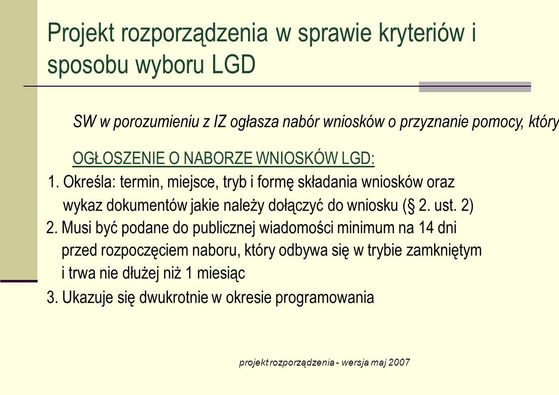 SW w porozumieniu z IZ ogłasza nabór wniosków o przyznanie pomocy, który musi być poprzedzony konsultacjami społecznymi (§ 2. ust. 1) OGŁOSZENIE O NAB