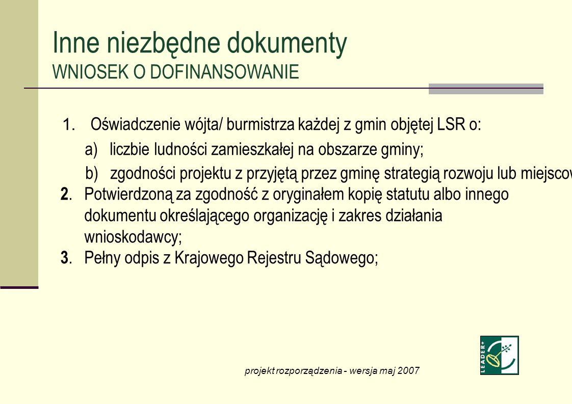 1. Oświadczenie wójta/ burmistrza każdej z gmin objętej LSR o: a) liczbie ludności zamieszkałej na obszarze gminy; b) zgodności projektu z przyjętą pr