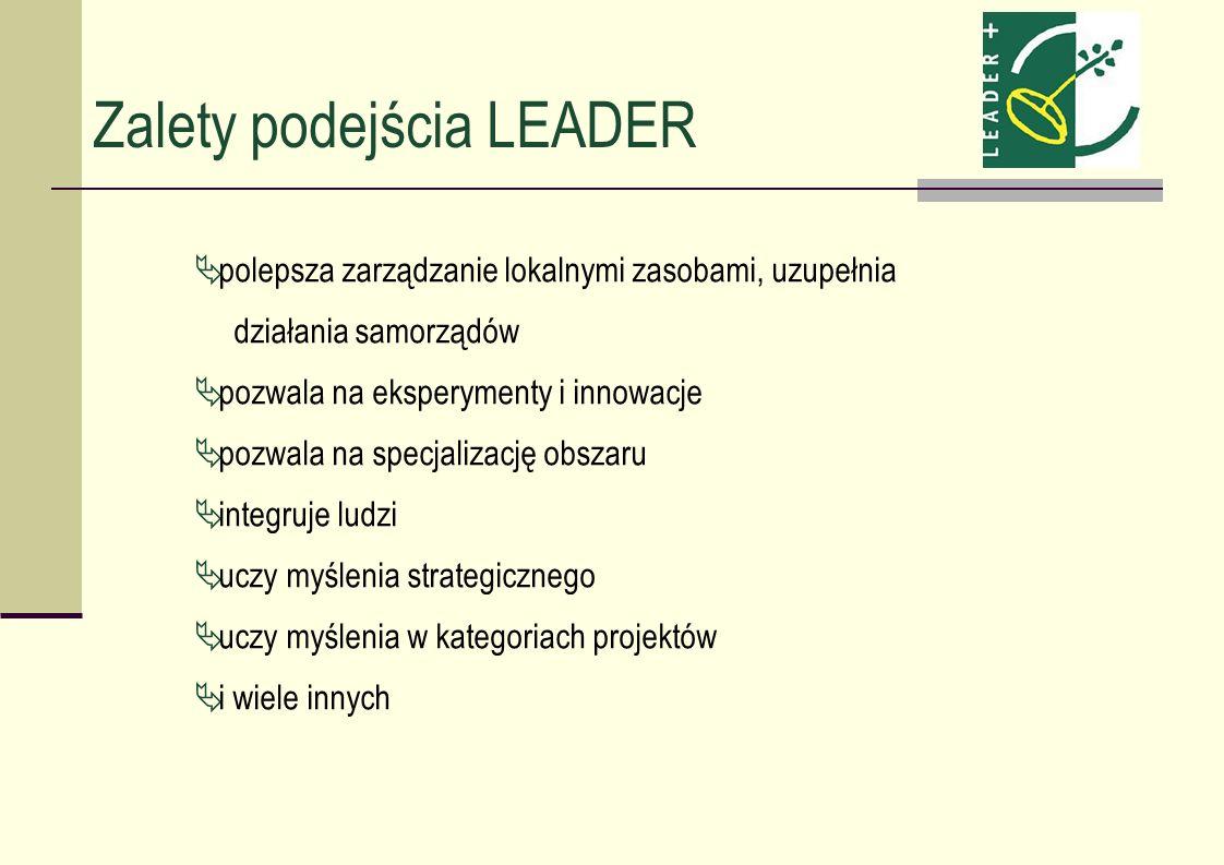 Zalety podejścia LEADER polepsza zarządzanie lokalnymi zasobami, uzupełnia działania samorządów pozwala na eksperymenty i innowacje pozwala na specjal