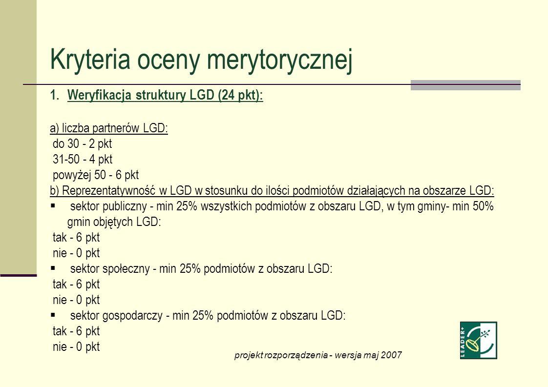Kryteria oceny merytorycznej 1.Weryfikacja struktury LGD (24 pkt): a) liczba partnerów LGD: do 30 - 2 pkt 31-50 - 4 pkt powyżej 50 - 6 pkt b) Reprezen
