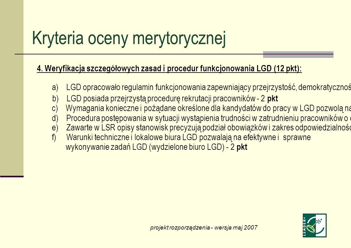 4. Weryfikacja szczegółowych zasad i procedur funkcjonowania LGD (12 pkt): a) LGD opracowało regulamin funkcjonowania zapewniający przejrzystość, demo
