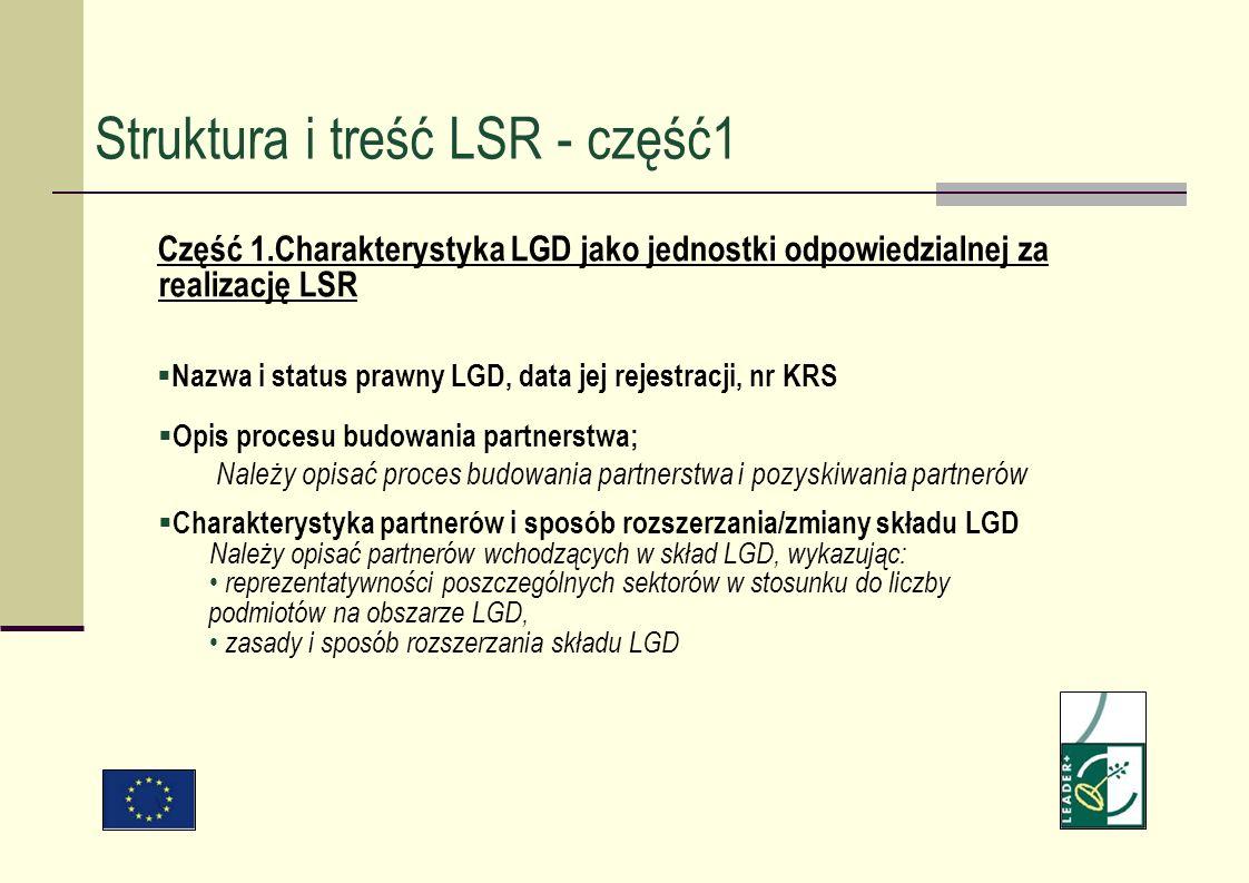 Struktura i treść LSR - część1 Część 1.Charakterystyka LGD jako jednostki odpowiedzialnej za realizację LSR Nazwa i status prawny LGD, data jej rejest