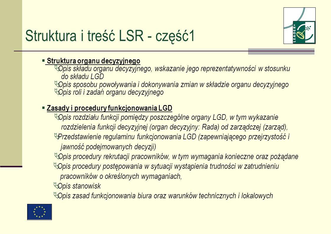 Struktura i treść LSR - część1 Struktura organu decyzyjnego Opis składu organu decyzyjnego, wskazanie jego reprezentatywności w stosunku do składu LGD