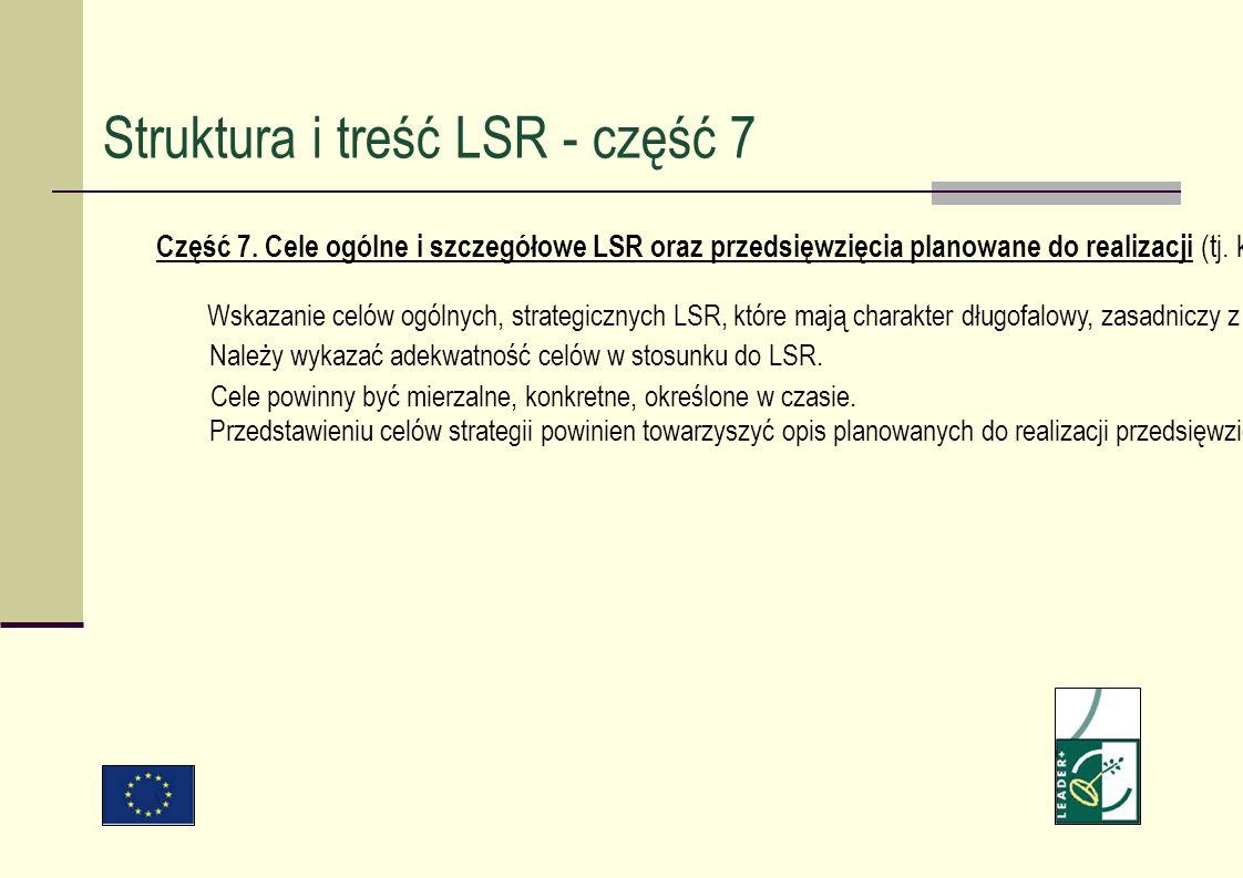 Część 7. Cele ogólne i szczegółowe LSR oraz przedsięwzięcia planowane do realizacji (tj. kategorie działań w ramach których realizowane będą konkretne