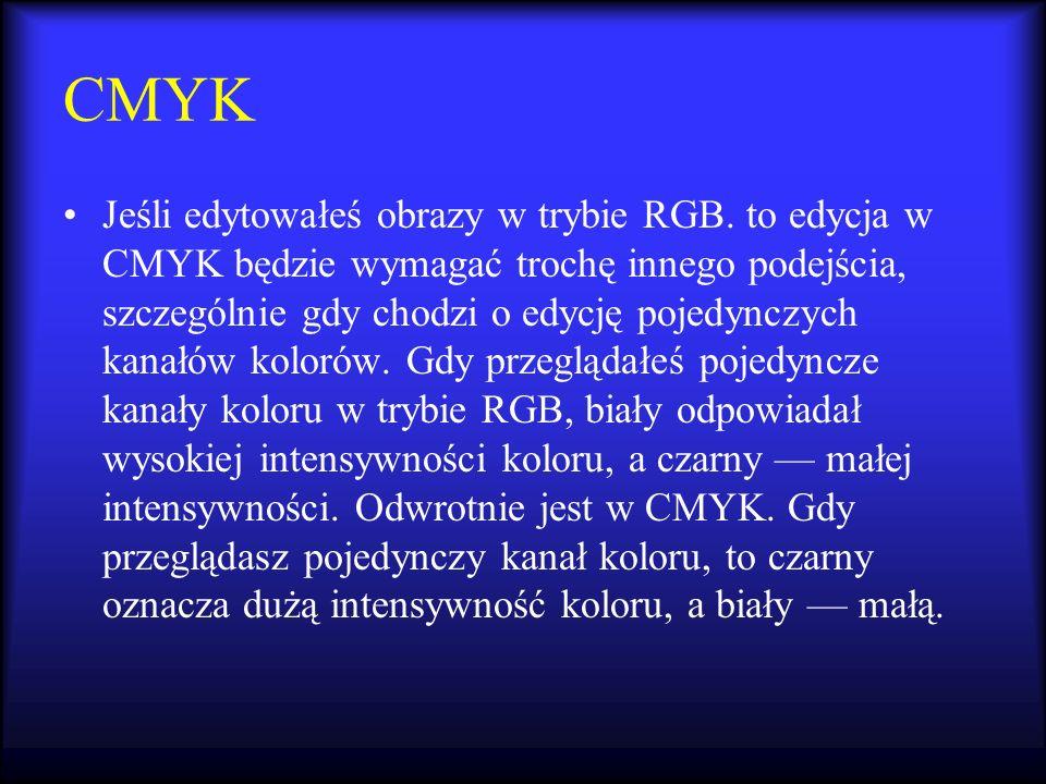 CMYK Jeśli edytowałeś obrazy w trybie RGB. to edycja w CMYK będzie wymagać trochę innego podejścia, szczególnie gdy chodzi o edycję pojedynczych kanał