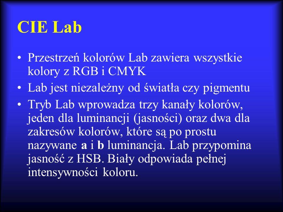 CIE Lab Przestrzeń kolorów Lab zawiera wszystkie kolory z RGB i CMYK Lab jest niezależny od światła czy pigmentu Tryb Lab wprowadza trzy kanały koloró