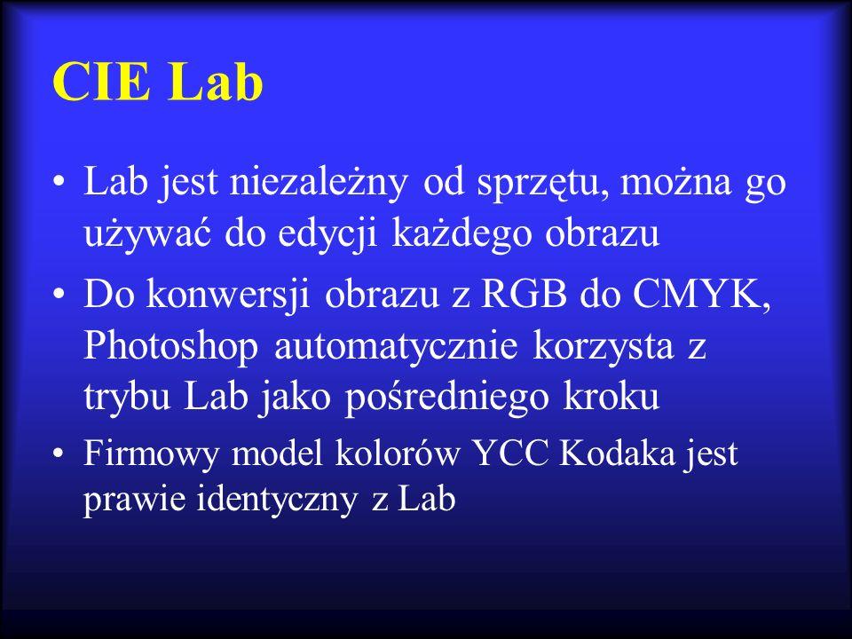 CIE Lab Lab jest niezależny od sprzętu, można go używać do edycji każdego obrazu Do konwersji obrazu z RGB do CMYK, Photoshop automatycznie korzysta z