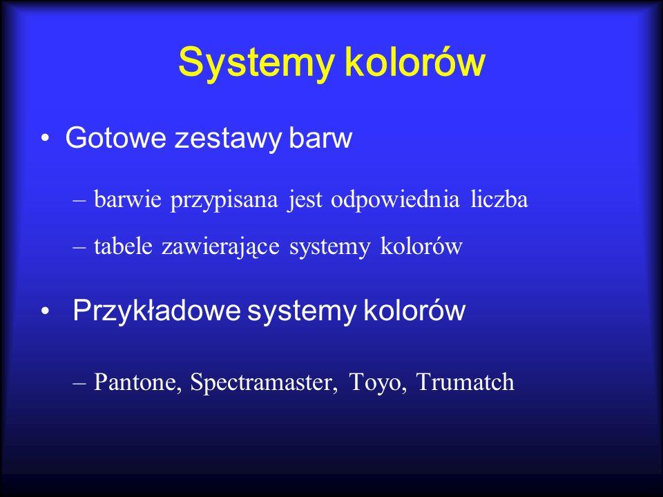 Systemy kolorów Gotowe zestawy barw –barwie przypisana jest odpowiednia liczba –tabele zawierające systemy kolorów Przykładowe systemy kolorów –Panton