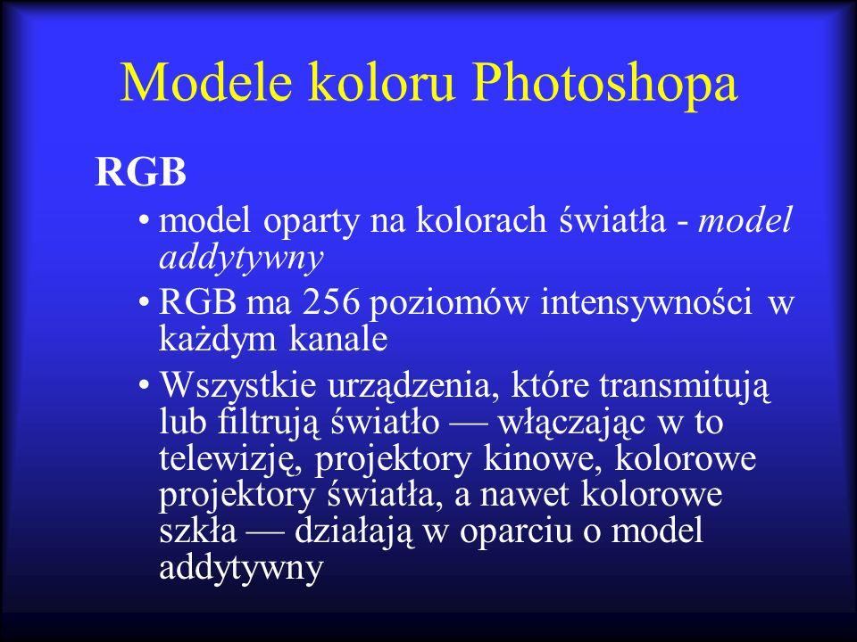 Modele koloru Photoshopa RGB model oparty na kolorach światła - model addytywny RGB ma 256 poziomów intensywności w każdym kanale Wszystkie urządzenia
