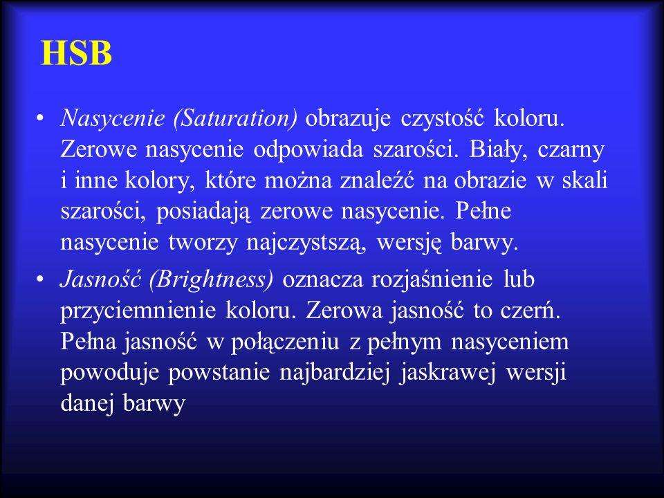 HSB Nasycenie (Saturation) obrazuje czystość koloru. Zerowe nasycenie odpowiada szarości. Biały, czarny i inne kolory, które można znaleźć na obrazie