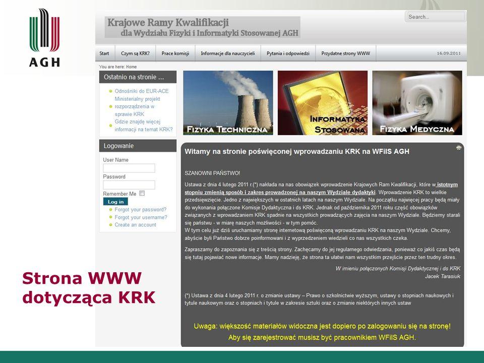 Strona WWW dotycząca KRK