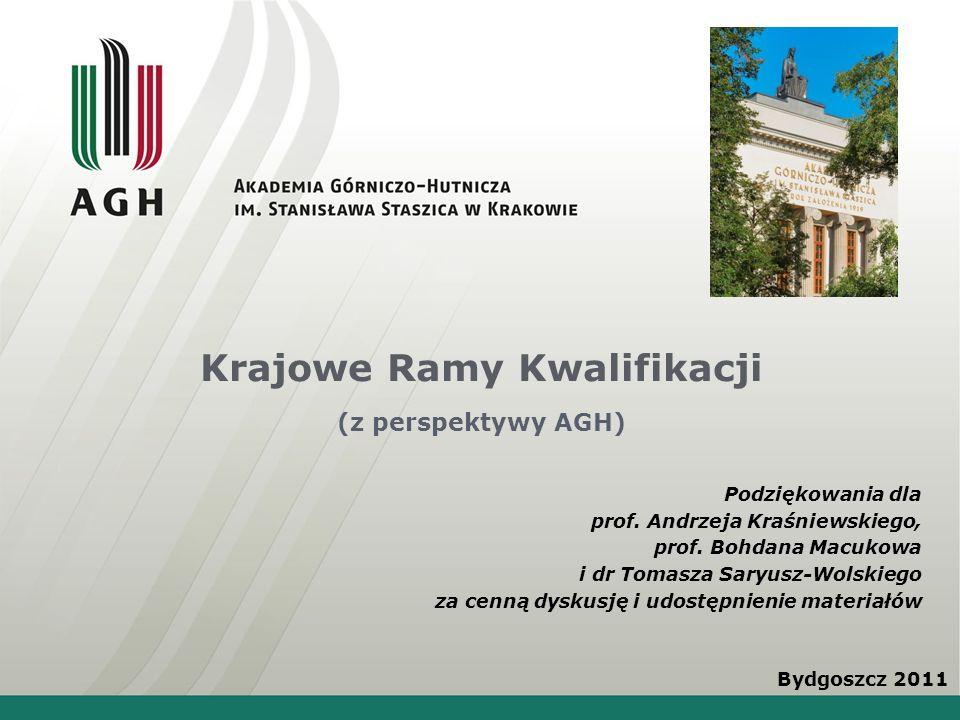 Krajowe Ramy Kwalifikacji (z perspektywy AGH) Bydgoszcz 2011 Podziękowania dla prof. Andrzeja Kraśniewskiego, prof. Bohdana Macukowa i dr Tomasza Sary