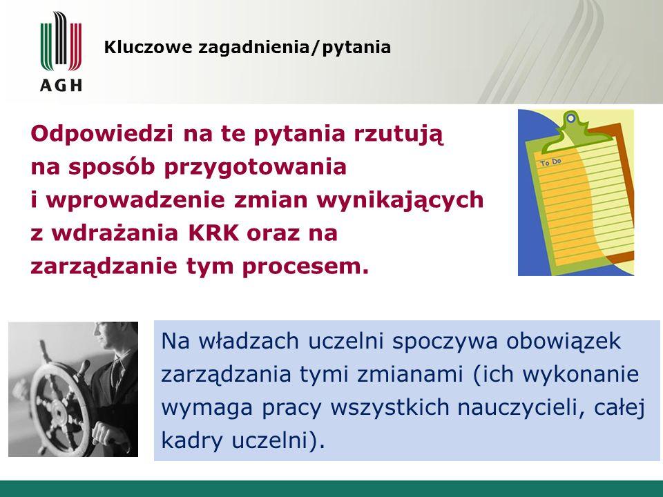 Kluczowe zagadnienia/pytania Odpowiedzi na te pytania rzutują na sposób przygotowania i wprowadzenie zmian wynikających z wdrażania KRK oraz na zarząd