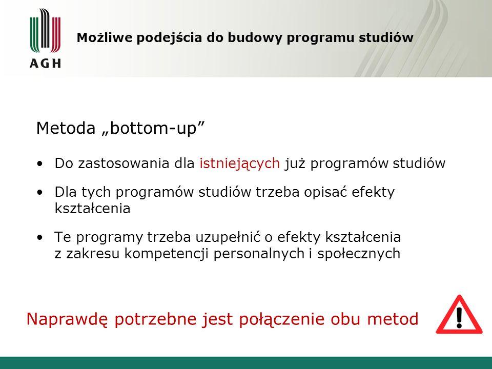 Metoda bottom-up Do zastosowania dla istniejących już programów studiów Dla tych programów studiów trzeba opisać efekty kształcenia Te programy trzeba uzupełnić o efekty kształcenia z zakresu kompetencji personalnych i społecznych Naprawdę potrzebne jest połączenie obu metod