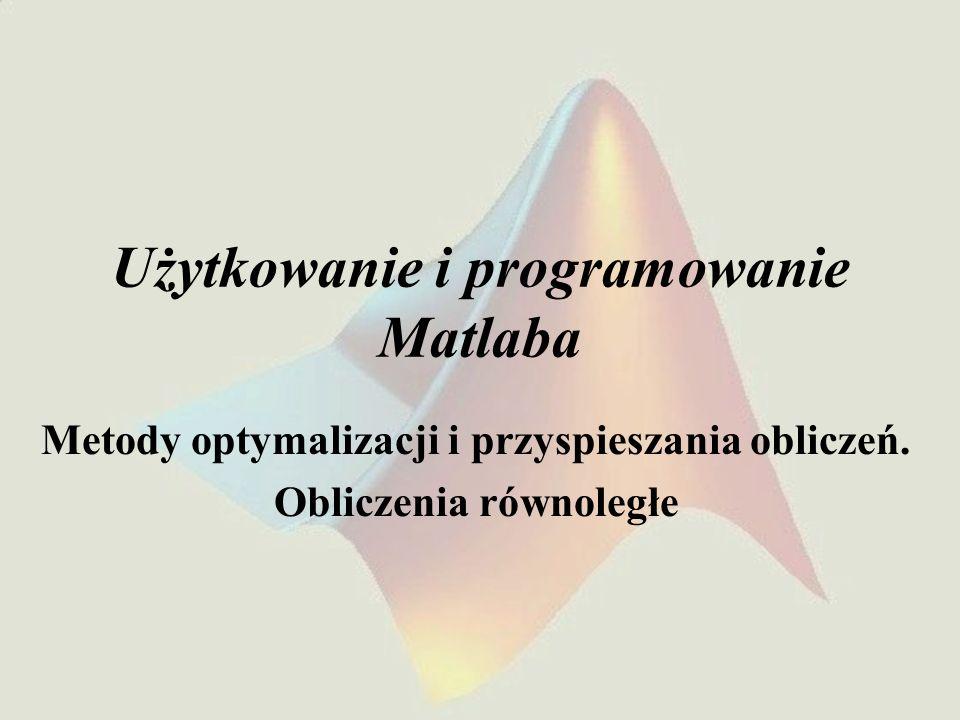 Użytkowanie i programowanie Matlaba Metody optymalizacji i przyspieszania obliczeń. Obliczenia równoległe