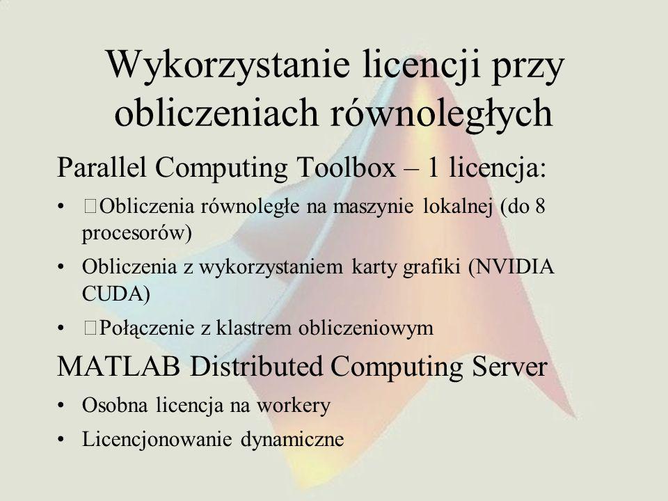 Wykorzystanie licencji przy obliczeniach równoległych Parallel Computing Toolbox – 1 licencja: Obliczenia równoległe na maszynie lokalnej (do 8 proces