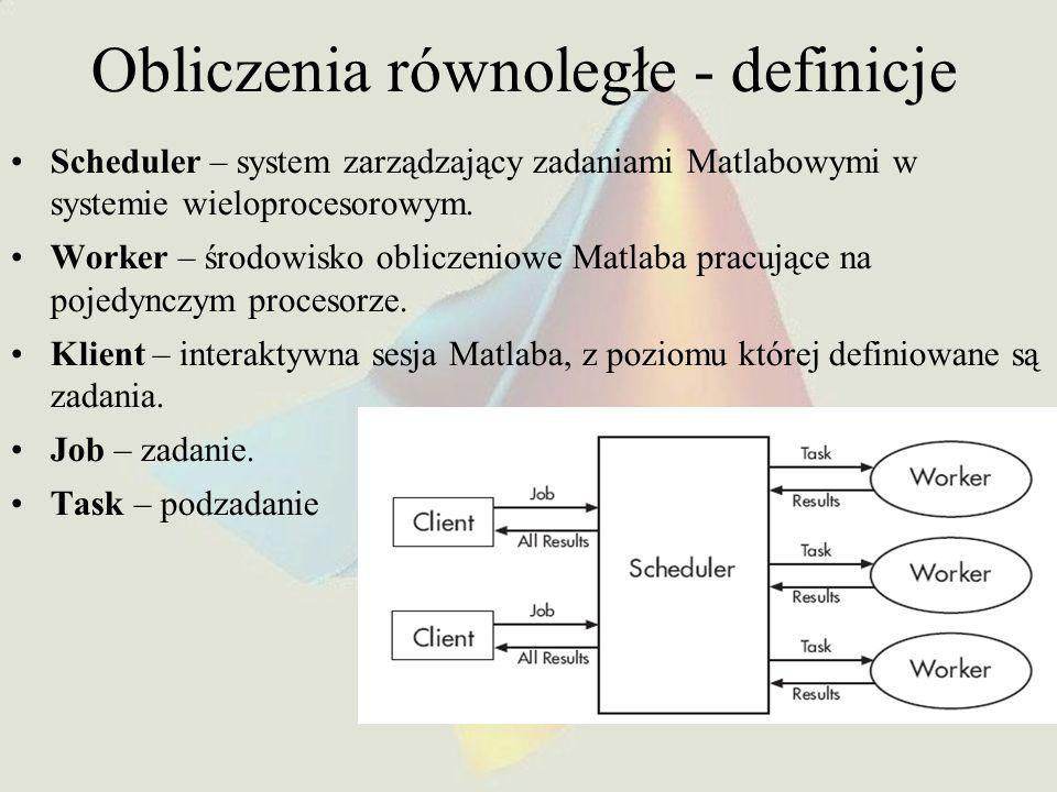 Obliczenia równoległe - definicje Scheduler – system zarządzający zadaniami Matlabowymi w systemie wieloprocesorowym. Worker – środowisko obliczeniowe