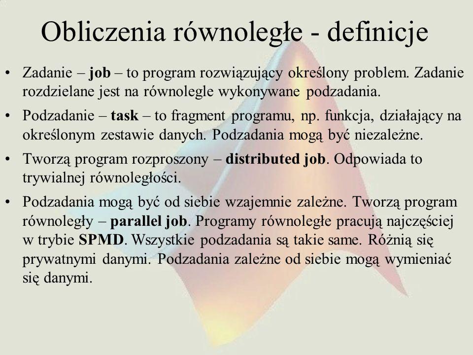 Obliczenia równoległe - definicje Zadanie – job – to program rozwiązujący określony problem. Zadanie rozdzielane jest na równolegle wykonywane podzada