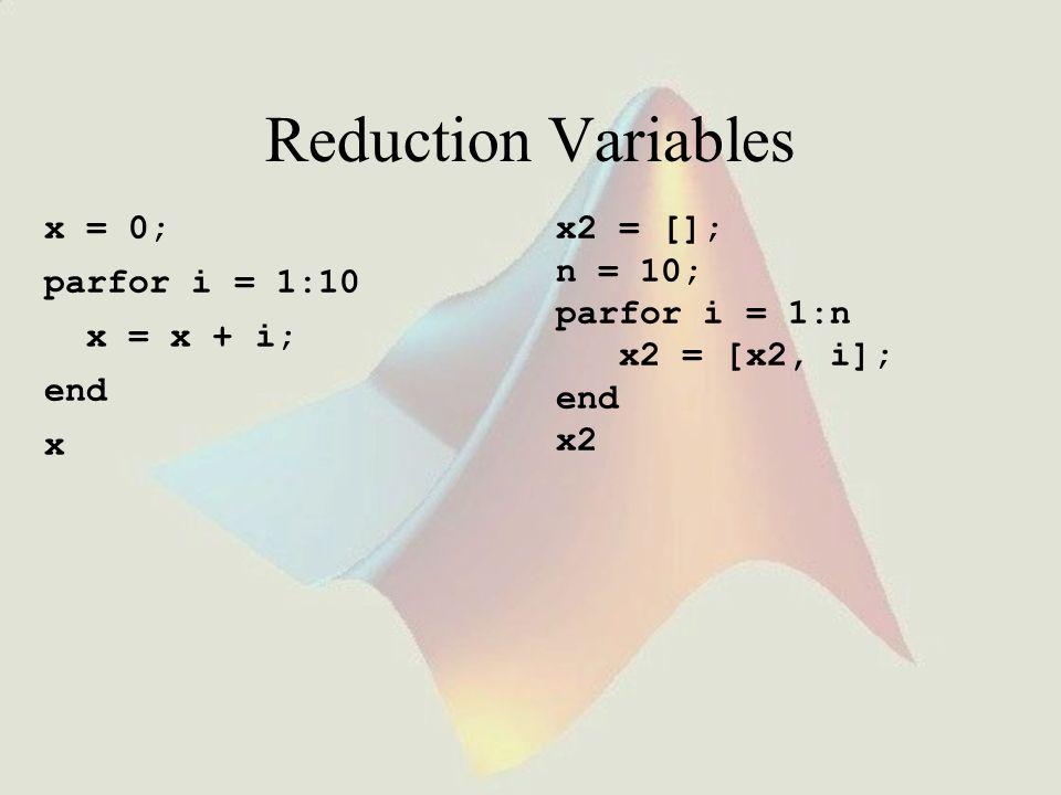 Reduction Variables x = 0; parfor i = 1:10 x = x + i; end x x2 = []; n = 10; parfor i = 1:n x2 = [x2, i]; end x2