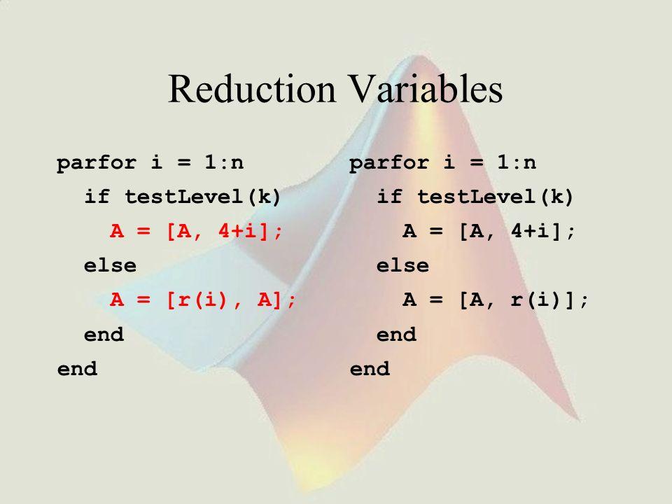 Reduction Variables parfor i = 1:n if testLevel(k) A = [A, 4+i]; else A = [r(i), A]; end parfor i = 1:n if testLevel(k) A = [A, 4+i]; else A = [A, r(i