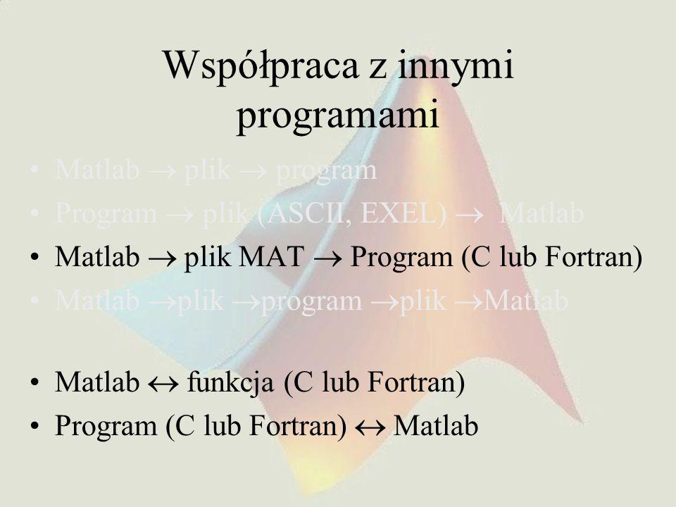 Współpraca z innymi programami Matlab plik program Program plik (ASCII, EXEL) Matlab Matlab plik MAT Program (C lub Fortran) Matlab plik program plik