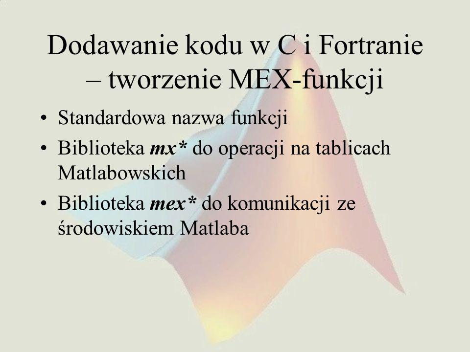 Dodawanie kodu w C i Fortranie – tworzenie MEX-funkcji Standardowa nazwa funkcji Biblioteka mx* do operacji na tablicach Matlabowskich Biblioteka mex*